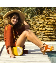Lanzarote Heeled Sandals  Orange - Mustard