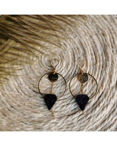 Arrow Hoop Earrings - Black Python