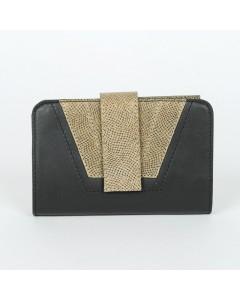 Tokyo Wallet Black - Khaki Lizzard