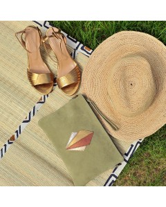 Malaga Clutch Bag - Olive and Rio gold sandals