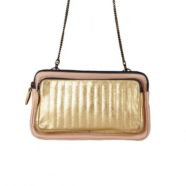 Pink beige Cork pouch - Gold