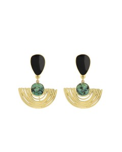 Duo Arc earrings - Laëti Trëma - Jasper/black
