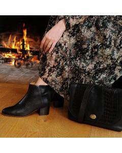Boots Odessa Noir Croco et Sac Rimini Noir Croco