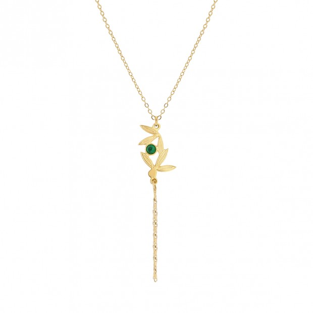 Alang Necklace 6 petals - Laëti Trëma - Green Agate