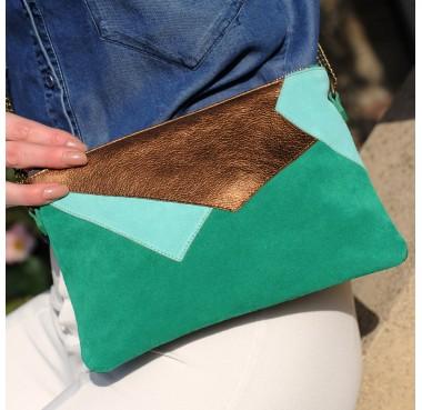 Pochette Louxor Vert Herbe/Bronze porté