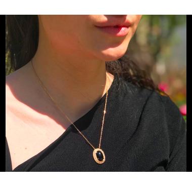 Collier Ovale/Agate Noire