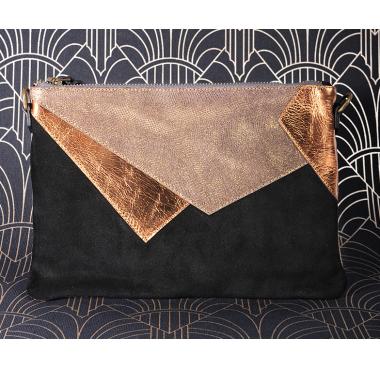 Pochette Noir/Lézard bronze