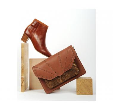 Boots Lausanne Camel/ Croco et Sac Omaha Tabac/ Python