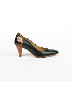 Miami Pump Shoes - Black & Bronze