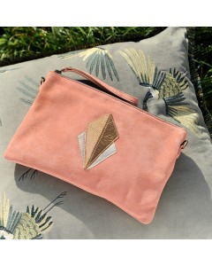 Malaga Clutch Bag: Blush velvet